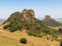 Camelo and cuscuzeiro rock mountain wide angle view in a sunny day Royalty Free Stock Image