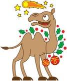 Camelo do Natal que olha um cometa no céu Fotografia de Stock