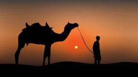 Camelo e um homem na ilustração do por do sol ilustração do vetor