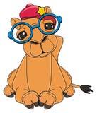 Camelo no encontro do tampão e dos vidros ilustração stock