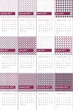 Camelot and eggplant colored geometric patterns calendar 2016. Camelot and eggplant geometric patterns calendar 2016 stock illustration