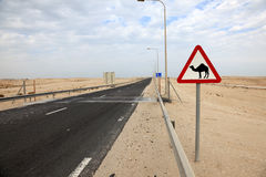 Camels crossing sign in Qatar Royalty Free Stock Photos