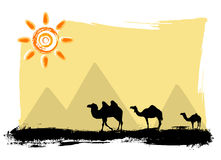 Camels in the desert. Camels silhouette in the desert vector Royalty Free Stock Image