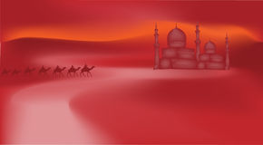 Camels in the desert. Go to the eastern castle Stock Photo