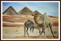 Camels in the desert (watercolor) Royalty Free Stock Photos