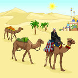Camels go on desert sun. Cameleer sits on the hump. The life of nomadic pastoralists. The city in the sands. Vector Stock Photos