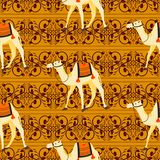 Camels oriental decorative motifs seamless vector pattern. stock illustration