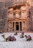 Camels sit in front of the Treasury Al-Khazneh at the ancient site of Petra in Jordan. Stock Photos