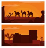 Camels walking on desert and western village. Vector illustration graphic design Royalty Free Stock Photography