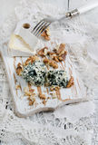 Camembert, blue cheese and walnut Stock Photos