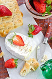 Camembert with bread and strawberries Royalty Free Stock Photo