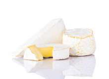 Camembert and Brie Cheese on White Background Stock Photography