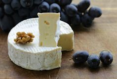 Camembert cheese with grapes Stock Image
