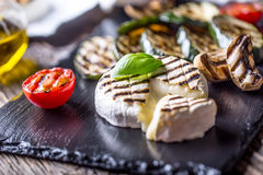 Camembert cheese. Grilled camembert cheese with zucchini tomatoes olive oil and basil leaves Royalty Free Stock Photo