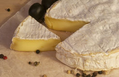 Camembert cheese on the paper. Chopped Camembert cheese and olives on the paper.  Close-up Royalty Free Stock Photos