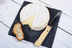 Camembert cheese on a plate slate Royalty Free Stock Photo