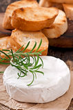 Camembert cheese with rosemary and toast Stock Photo