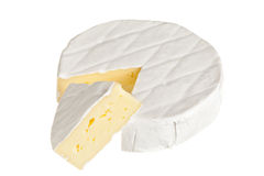 Camembert cheese. Sliced isolated on white background Stock Photos