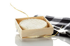 Camembert cheese in wooden box Stock Images