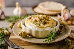 Camembert cocido con las nueces imagen de archivo