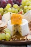 Camembert con el primer de la miel y de la fruta en una bandeja de madera Imágenes de archivo libres de regalías
