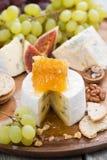 Camembert con el primer de la miel y de la fruta en una bandeja de madera Fotografía de archivo libre de regalías