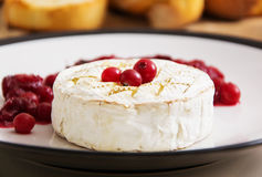 Camembert cozido com arandos e pão brindado Fotografia de Stock Royalty Free