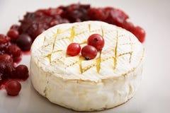 Camembert cozido com os arandos no fundo branco Fotos de Stock Royalty Free