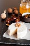 Camembert délicieux avec du miel et des écrous Photographie stock libre de droits