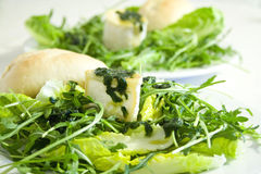 Camembert De Chevre On Ruccola And Lettuce Royalty Free Stock Image