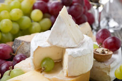 Camembert, different cheeses and grapes Royalty Free Stock Images