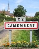 Camembert Sign. CAMEMBERT, FRANCE JULY 27: The French village of Camembert and it's famous sign on 27th July 2012. Camembert is world famous as the 'home' of the Stock Image