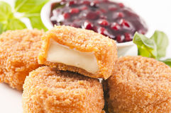 Camembert fried. With cowberry sauce Royalty Free Stock Image