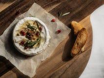 Camembert med honung, valnötter och rostat bröd Fotografering för Bildbyråer
