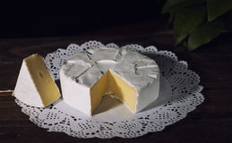 Camembert with noble white mold. Exquisite cheese. Camembert cheese on a rustic background.French cheese with a white mold. Brie cheese with white noble mould Stock Image