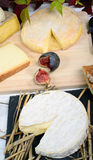 Camembert of Normandy with different  cheeses Royalty Free Stock Images