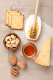 Camembert and parmesan cheese, honey and nuts Stock Photography