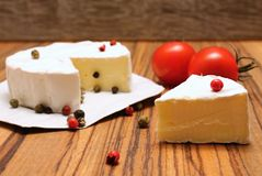 Camembert and pepper stock photos
