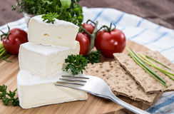 Camembert pieces with Crispbread Stock Photo
