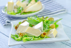 Camembert. On the white plate Stock Photos