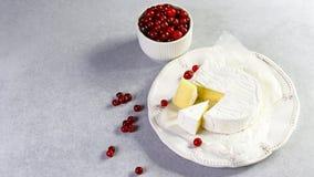 Camembertbrie met verse Amerikaanse veenbes op een witte plaat Gastronomisch voorgerecht Authentiek Levensstijlbeeld Hoogste meni stock foto's