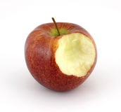 Cameo apple that has been bitten. A single cameo apple which has been bitten on a white background royalty free stock photo