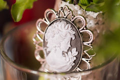 Cameo brooch. Antique Cameo brooch broach closeup royalty free stock images