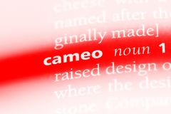 Cameo. Word in a dictionary.  concept royalty free stock photos