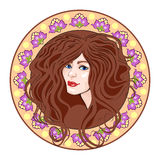 Cameo girls head, brown. Cameo with floral ornament and head girl, brown Stock Photography