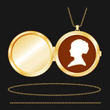 cameo gold lady locket round s 图库摄影