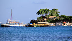 Cameo Island- und Agios Sostis-Hafen in Zakynthos Lizenzfreies Stockfoto