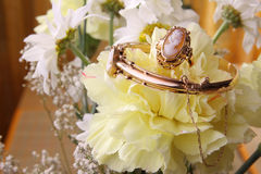 Cameo jewelry. Set with ring, bracelet and pendant on flowers royalty free stock photos