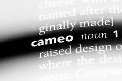 Cameo. Word in a dictionary.  concept stock images
