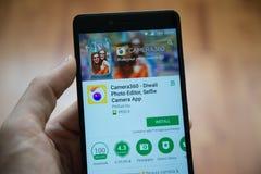 Camera360应用在谷歌戏剧商店 免版税库存图片